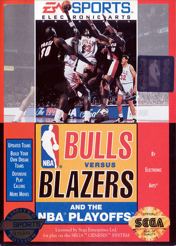 Bulls Vs Blazers And The NBA Playoffs For Sega Genesis Vintage Basketball