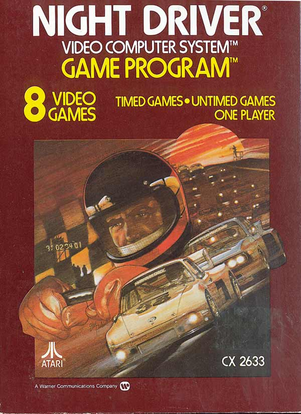 2600 Game Cartridge Night Driver For Atari Vintage